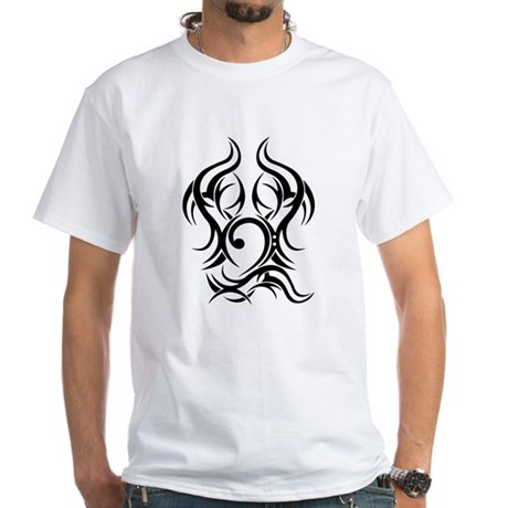 Bass Clef Tattoo tribal White T-Shirt