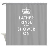 Lather Rinse Gray Shower Curtain