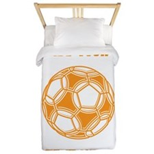 Soccer Ball. Orange with Text Twin Duvet