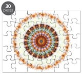 Detailed Orange Earth Mandala Puzzle