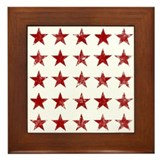 Red Distressed Stars Framed Tile