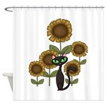 Sunflower Black Cat Shower Curtain