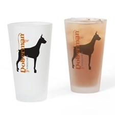 Grunge Doberman Silhouette Drinking Glass