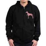 Diamonds Doberman Diva Zip Hoodie (dark)