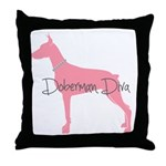 Diamonds Doberman Diva Throw Pillow