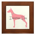 Diamonds Doberman Diva Framed Tile