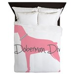 Diamonds Doberman Diva Queen Duvet