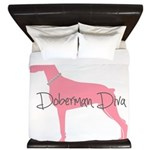 Diamonds Doberman Diva King Duvet