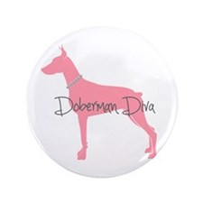 "Diamonds Doberman Diva 3.5"" Button (100 pack)"