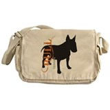 Grunge Bull Terrier Silhouette Messenger Bag