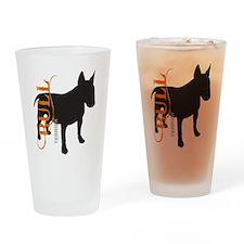 Grunge Bull Terrier Silhouette Drinking Glass
