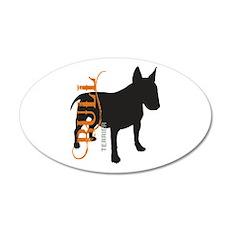 Grunge Bull Terrier Silhouette 38.5 x 24.5 Oval Wa
