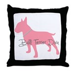 Diamonds Bull Terrier Diva Throw Pillow