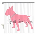 Diamonds Bull Terrier Diva Shower Curtain