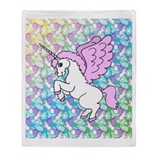 Unicorn Rainbow Pattern Throw Blanket