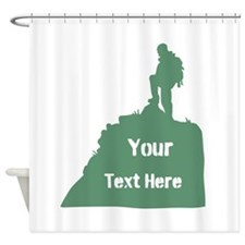 Hiking Climbing. Custom Text. Shower Curtain