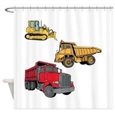 Construction Site Vehicles. Shower Curtain