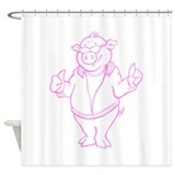 Cool Pig. Pink. Shower Curtain