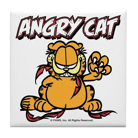 ANGRY CAT Tile Coaster
