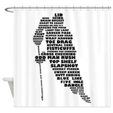 Language of Hockey (skater) Shower Curtain