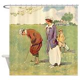 vintage_golfer_shower_curtain. ...
