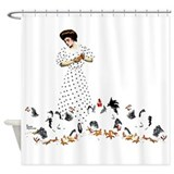 Feeding Chickens Shower Curtain