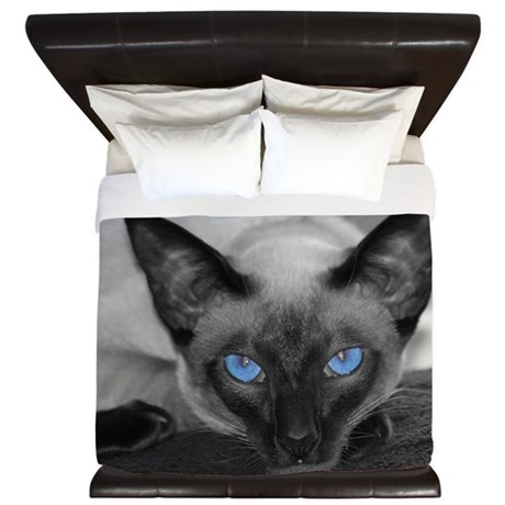 Siamese Cat B&W Photo Art King Duvet