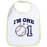 Cute 1 Year Old Baseball Bib