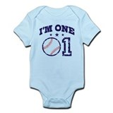 Cute 1 Year Old Baseball Infant Bodysuit