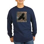 Street Art Crow Long Sleeve Dark T-Shirt