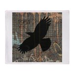 Street Art Crow Throw Blanket