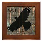 Street Art Crow Framed Tile