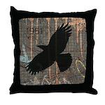 Street Art Crow Throw Pillow