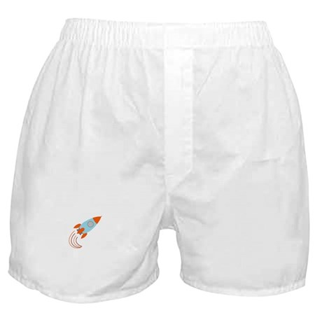 Blue and Orange Rocket Ship Boxer Shorts