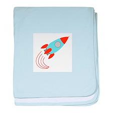 Blue and Orange Rocket Ship baby blanket
