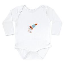 Blue and Orange Rocket Ship Long Sleeve Infant Bod