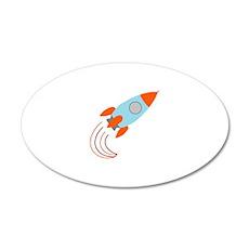 Blue and Orange Rocket Ship 38.5 x 24.5 Oval Wall