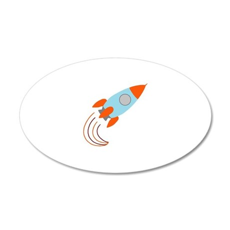 Blue and Orange Rocket Ship 22x14 Oval Wall Peel