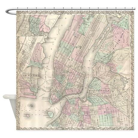 New York City Antique Map Shower Curtain by retroranger