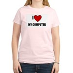 I LOVE MY COMPUTER Women's Pink T-Shirt