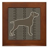 Weimaraner Silhouette Gray Framed Tile