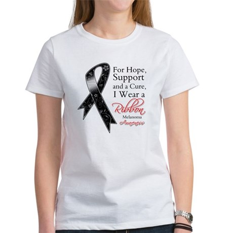 Melanoma Floral Ribbon Women's T-Shirt