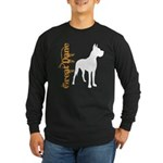 Grunge Great Dane Silhouette Long Sleeve Dark T-Sh