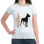 Grunge Great Dane Silhouette Jr. Ringer T-Shirt