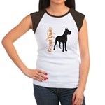 Grunge Great Dane Silhouette Women's Cap Sleeve T-