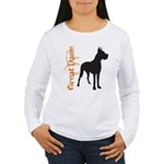 Grunge Great Dane Silhouette Women's Long Sleeve T