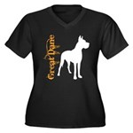 Grunge Great Dane Silhouette Women's Plus Size V-N