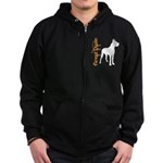Grunge Great Dane Silhouette Zip Hoodie (dark)