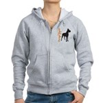 Grunge Great Dane Silhouette Women's Zip Hoodie