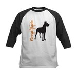 Grunge Great Dane Silhouette Kids Baseball Jersey